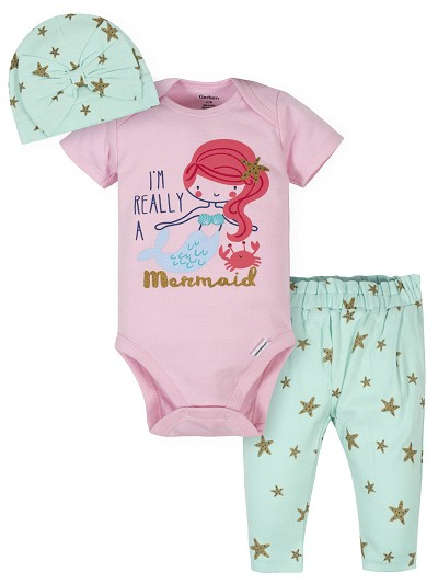 Gerber Mermaid Girl Take Me Home Set 3 Pieces, Newborn