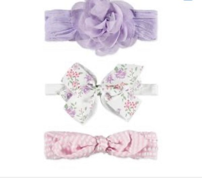 Baby Essentials 3 Pack Headband Flower and Bow 0-24 Months