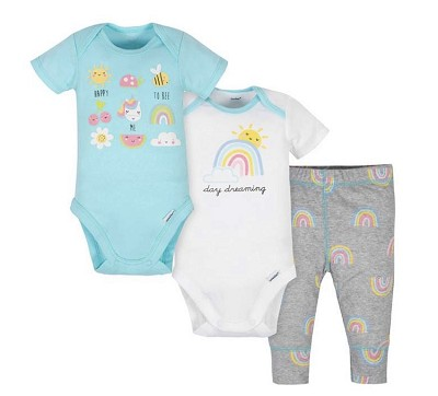 Gerber Rainbow Girl Onesies Pant Set 3 Pieces, Newborn