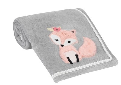 Lambs & Ivy Friendship Tree Baby Blanket, Gray-Pink Woodland Fox