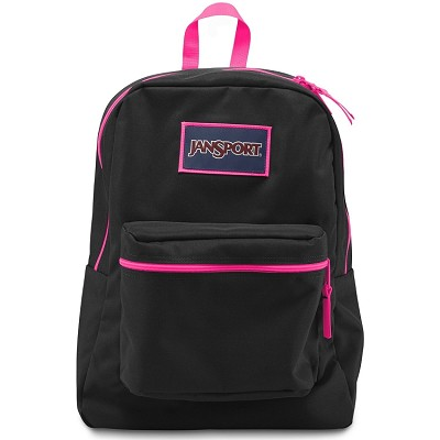 Jansport Overexposed Backpack, Black and Flourescent Pink