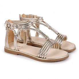 Mayoral Girl Leather Sandals Silver