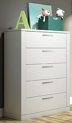 Nest Juvenile Milano 5 Drawer Dresser in White