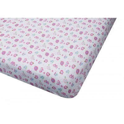 Baby Time Big Oshi  Pink Butterfly Portable Crib Sheet Jersey Knit